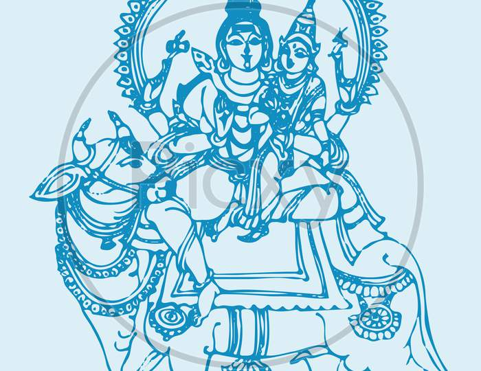 Drawing Or Sketch Of Lord Shiva And Parvati Editable Outline Illustration