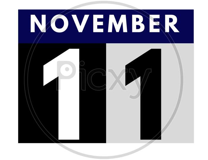 November 11 . Flat Daily Calendar Icon .Date ,Day, Month .Calendar For The Month Of November