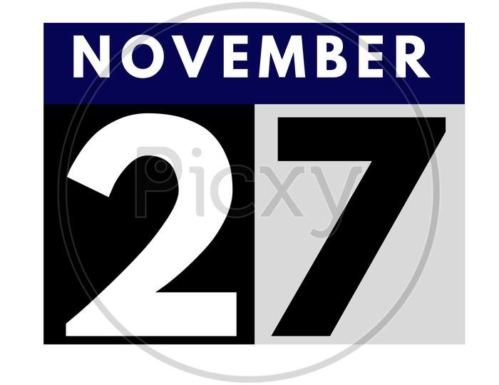 November 27 . Flat Daily Calendar Icon .Date ,Day, Month .Calendar For The Month Of November