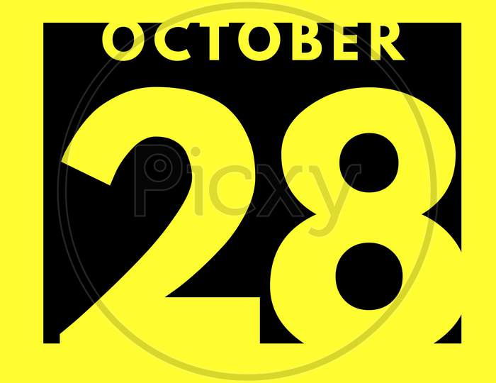 October 28 . Flat Modern Daily Calendar Icon .Date ,Day, Month .Calendar For The Month Of October