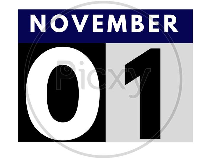November 1 . Flat Daily Calendar Icon .Date ,Day, Month .Calendar For The Month Of November