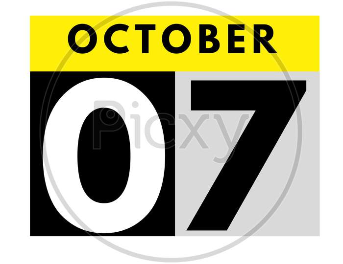 October 7 . Flat Daily Calendar Icon .Date ,Day, Month .Calendar For The Month Of October