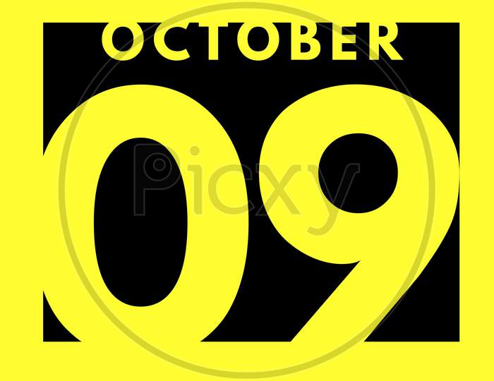 October 9 . Flat Modern Daily Calendar Icon .Date ,Day, Month .Calendar For The Month Of October