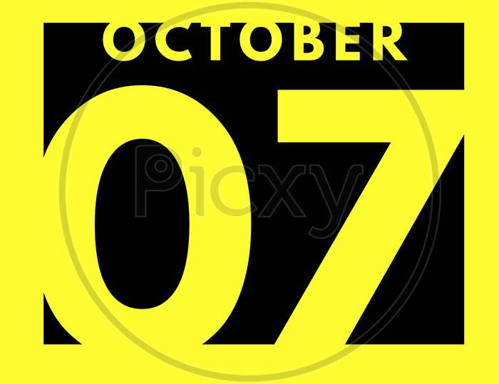 October 7 . Flat Modern Daily Calendar Icon .Date ,Day, Month .Calendar For The Month Of October