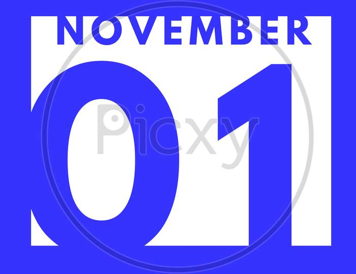 November 1 . Flat Modern Daily Calendar Icon .Date ,Day, Month .Calendar For The Month Of November