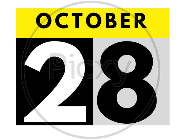 October 28 . Flat Daily Calendar Icon .Date ,Day, Month .Calendar For The Month Of October