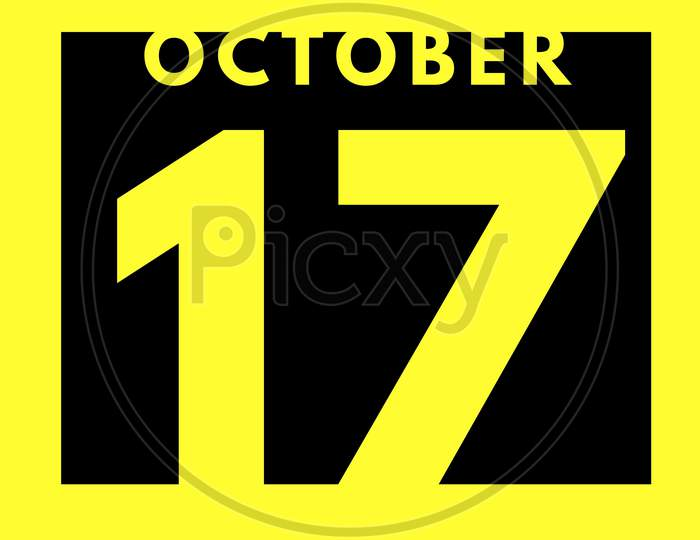 October 17 . Flat Modern Daily Calendar Icon .Date ,Day, Month .Calendar For The Month Of October