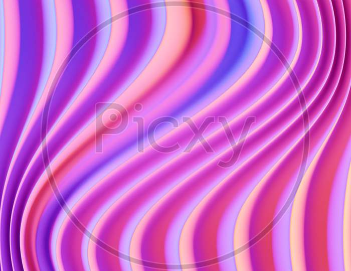 3D Illustration Of Rows  Pink Portal, Cave .Shape Pattern. Technology Geometry  Background.