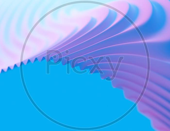 3D Illustration Of Rows  Pink And Blue Portal, Cave .Shape Pattern. Technology Geometry  Background.