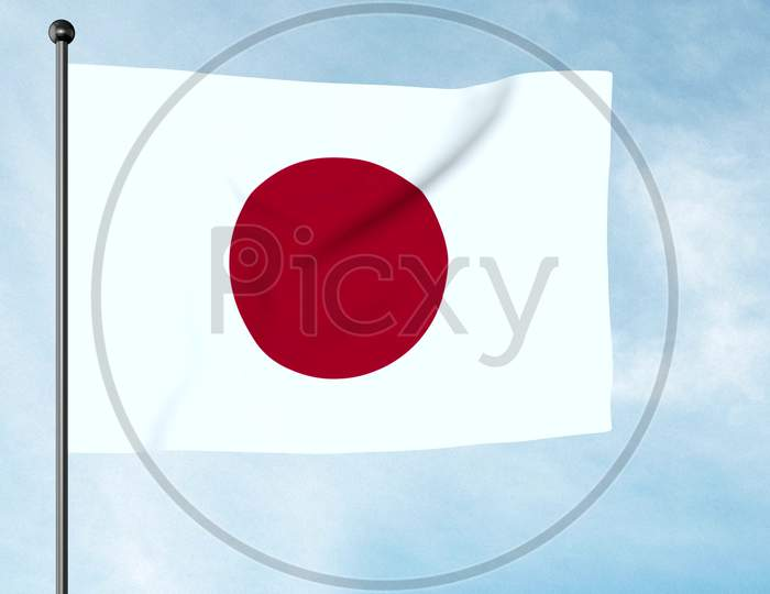 3D Illustration Of The National Flag Of Japan Is A Rectangular White Banner Bearing A Crimson-Red Circle At Its Centre. Nisshōki, Hinomaru. Land Of The Rising Sun.