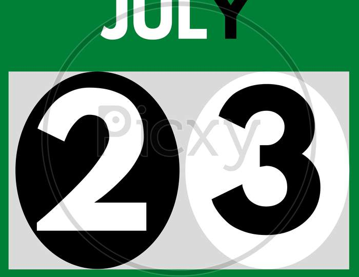 July 23 . Modern Daily Calendar Icon .Date ,Day, Month .Calendar For The Month Of July