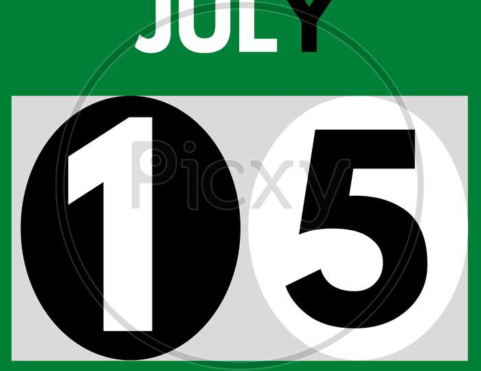 July 15 . Modern Daily Calendar Icon .Date ,Day, Month .Calendar For The Month Of July