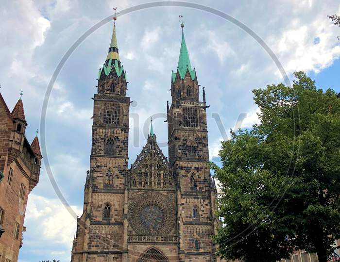 Catholic Church In The Center Of Nuremberg In Germany 27.7.2018