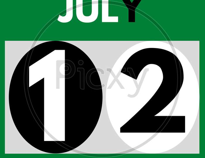 July 12 . Modern Daily Calendar Icon .Date ,Day, Month .Calendar For The Month Of July