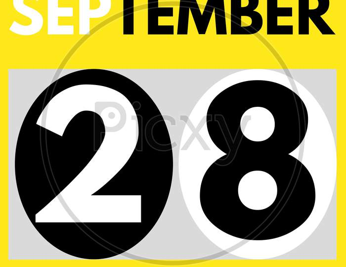 September 28 . Modern Daily Calendar Icon .Date ,Day, Month .Calendar For The Month Of September