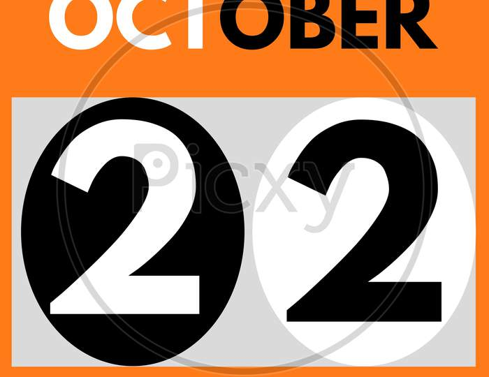 October 22 . Modern Daily Calendar Icon .Date ,Day, Month .Calendar For The Month Of October