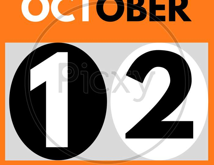 October 12 . Modern Daily Calendar Icon .Date ,Day, Month .Calendar For The Month Of October