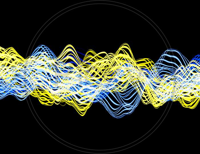 3D Illustration Of  Yellow And Blue Glowing Color Lines. Musical Line Equalizers On Black Isolated Background