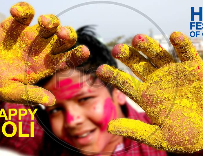 Indian Hindu festival of colors, in Hindi Language Translation on the Poster (Called Holi)greeting with colorful yellow, red powder banner, poster, creative, flyer, Child Playing Holi Festival