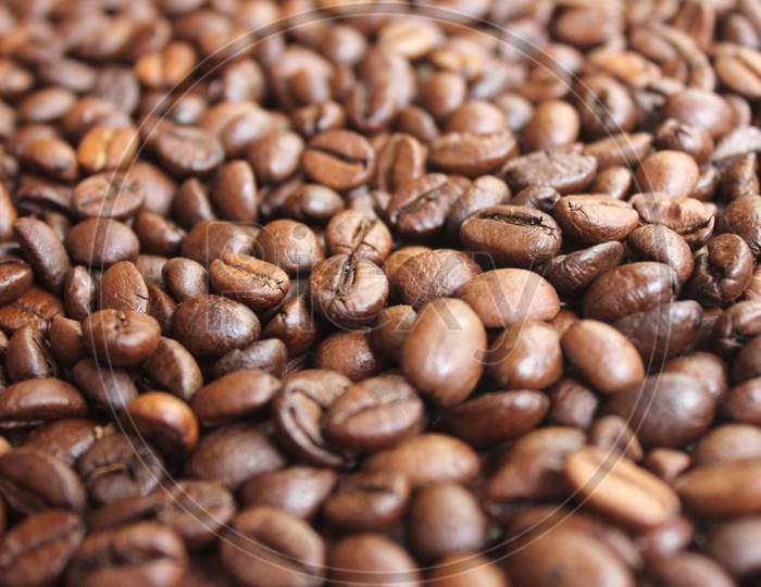 Closeup Of Roasted Coffee Beans Texture