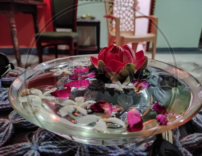 Artificial lotus in bowl of water