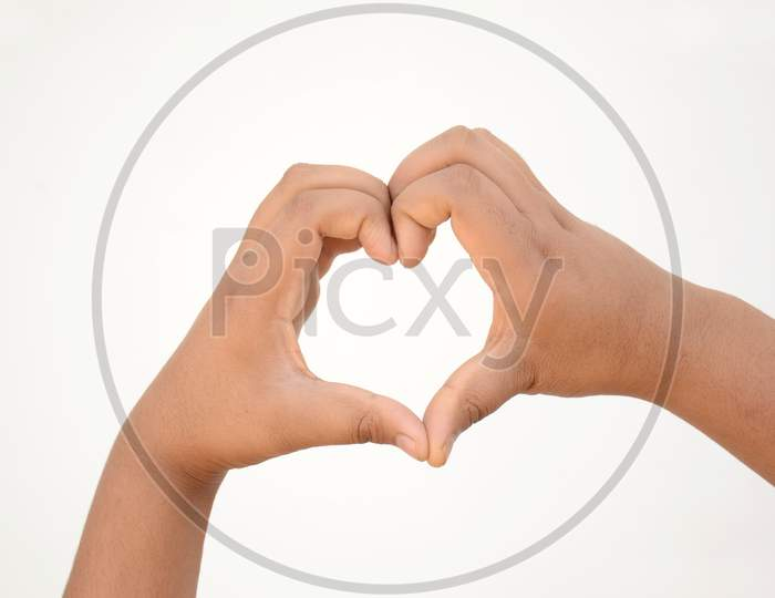Heart Shape Hands Mental Health Awareness Concept Isolated On White Background.