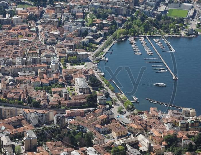 Como, Italy - Circa April 2017: Aerial View Of Lake Como