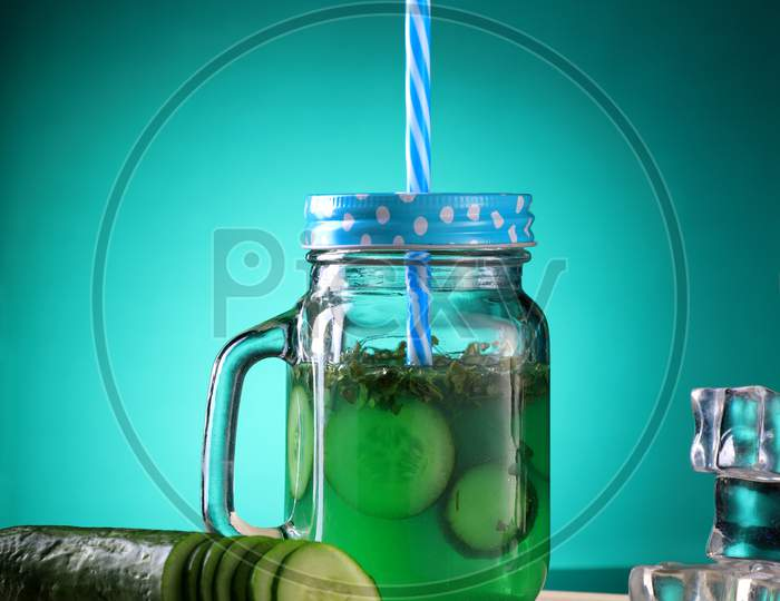 Fresh Cucumber Juice In A Mason Jar With Ice Cubes
