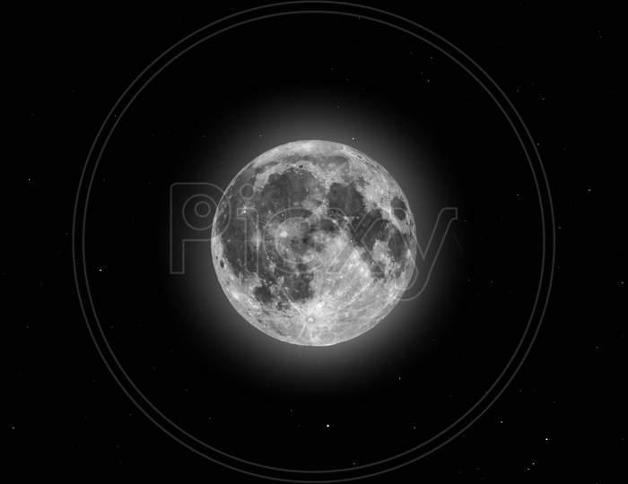 Full Moon Seen With Telescope, Starry Sky