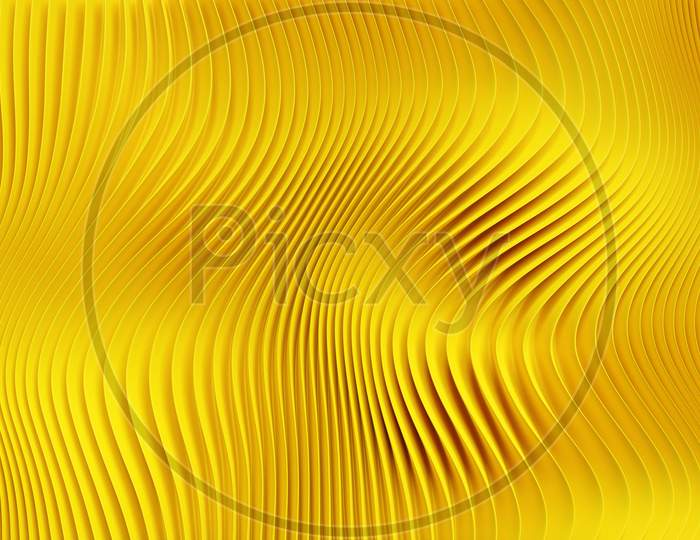 3D Illustration Of Rows  Yellow Portal, Cave .Shape Pattern. Technology Geometry  Background.