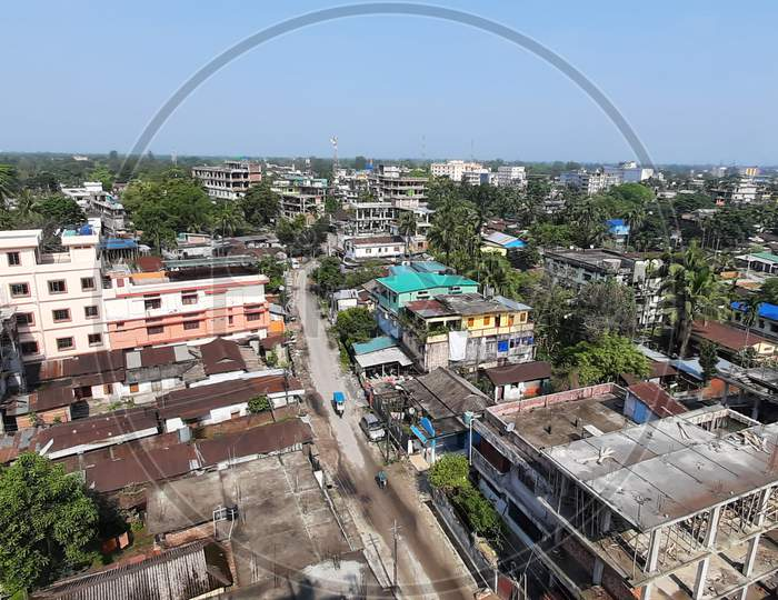 Landscape view of developing Bongaigaon Township from the Brindaban Garden, a  Flat/Real Estate Complex/Housing Complex which is the highest height Flat complex or building in Bongaigaon Township.
