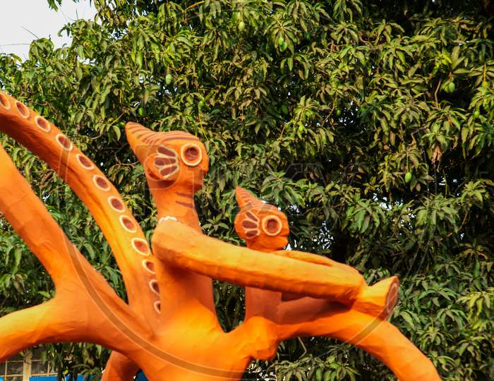 Masks Made By Students Of T Art Institute Of Dhaka University For T Bengali New Year Celebration, In Dhaka And April 14 1St Boishakh Bengali New Year.