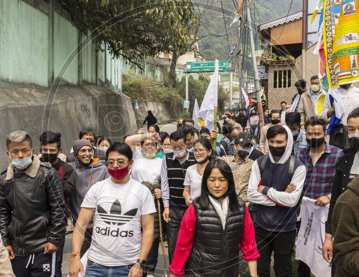 28Th March, 2021 Gangtok, Sikkim, India: Some Local People Showing Protest Against The Ruling Party In Front Of Chief Minister House At Gangtok, Sikkim