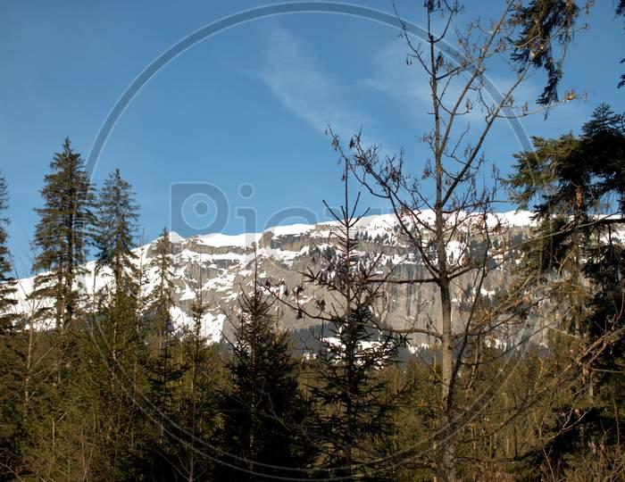 Snow Covered Alps Near Flims In Switzerland 20.2.2021
