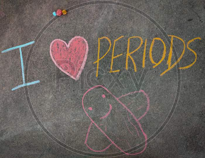 The Inscription Text On The Grey Board, I With Hand Drawn Pads And Periods . (I Love Periods). Using Color Chalk Pieces.