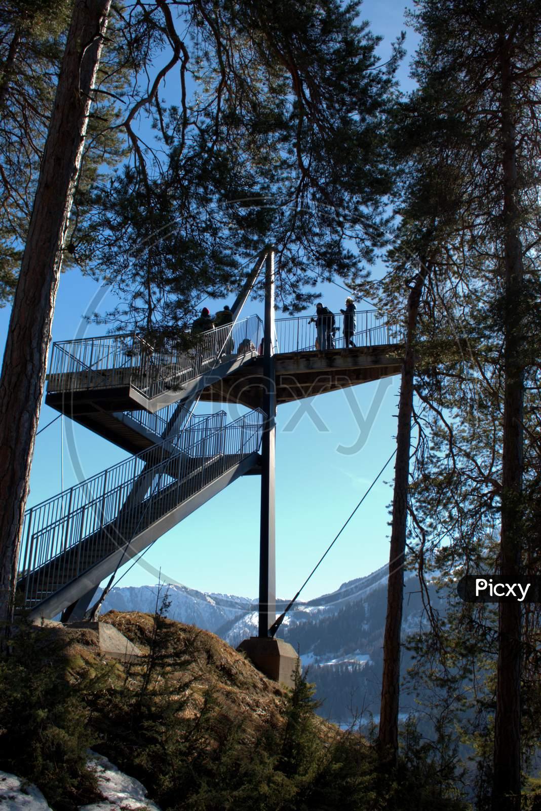 Platform At A View Point Near Flims In Switzerland 20.2.2021