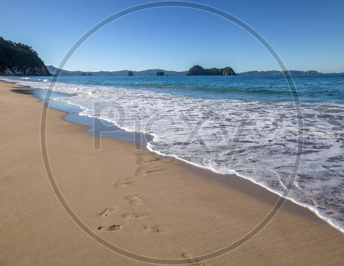 Hahei, New Zealand - February 8 : A Summer Evening At Hahei Beach In New Zealand On February 8, 2012. Unidentified People