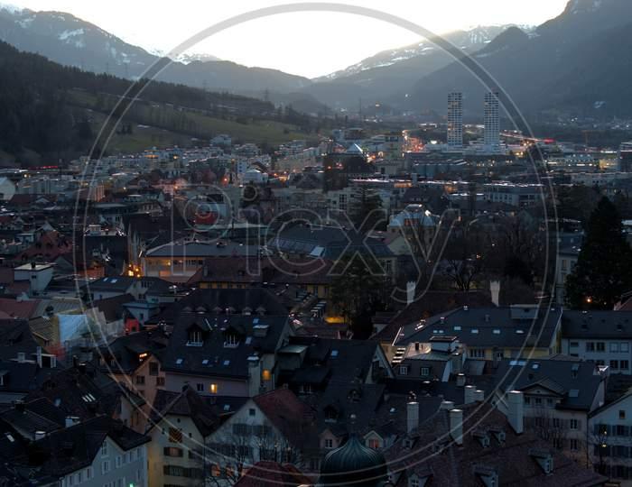 Evening Mood In Chur In Switzerland 20.2.2021
