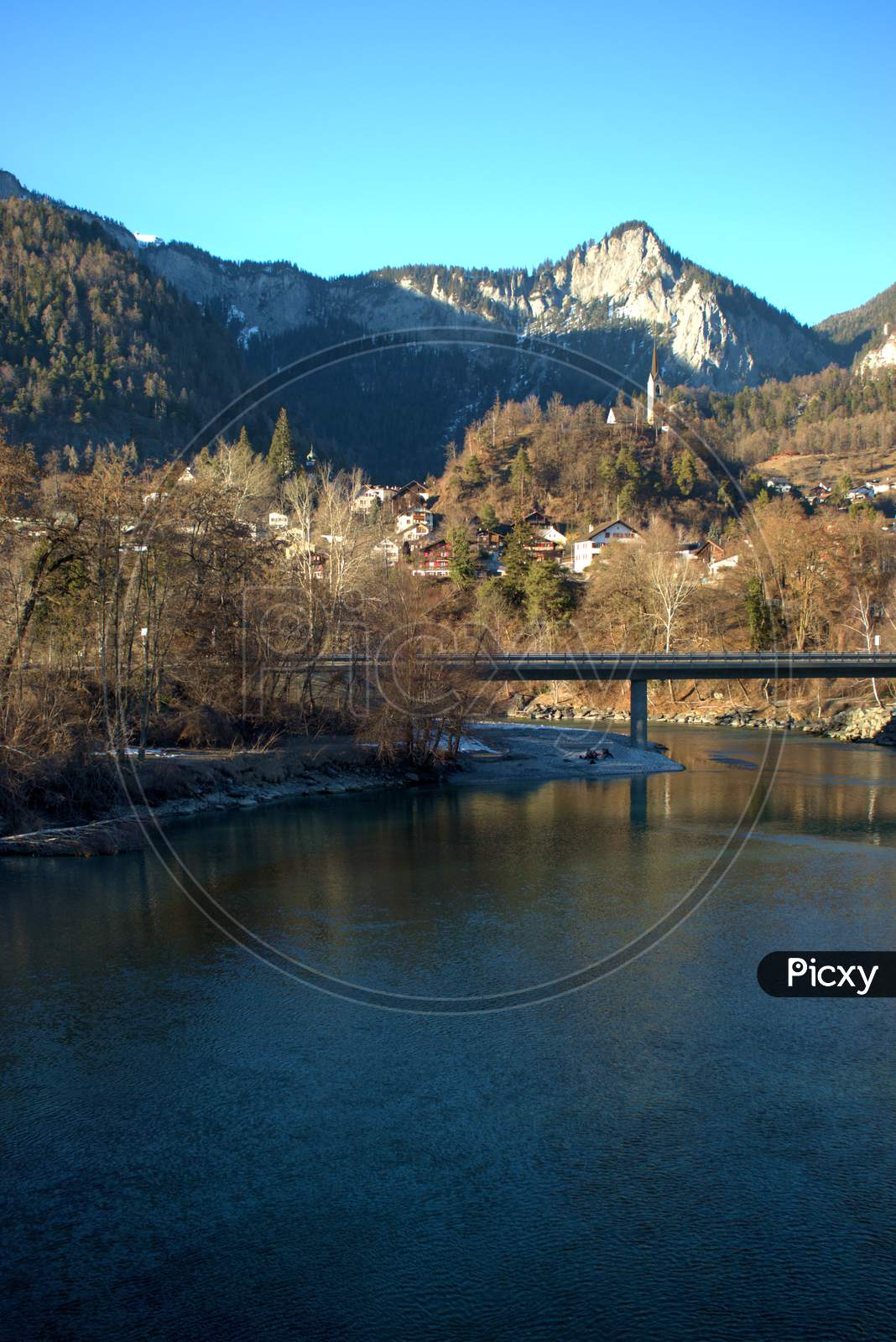 Beautiful Natural Scenery At The Rhine River In Tamins In Switzerland 20.2.2021