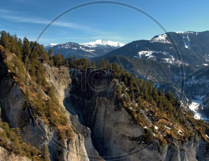 Alpine Winter Scenery At The Rhine Canyon Near Flims In Switzerland 20.2.2021