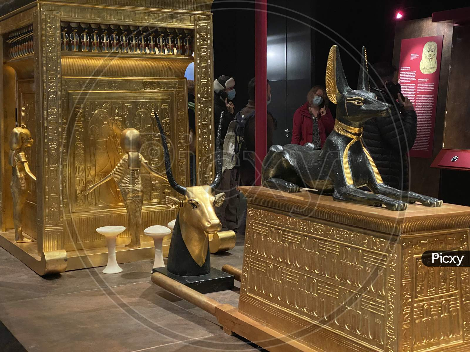 Tomb And Treasures With Golden Cow And Black Anubis As Replicas From Egypt Pharaoh Tutankhamun. 14.03.2021 - Oerlikon, Switzerland.
