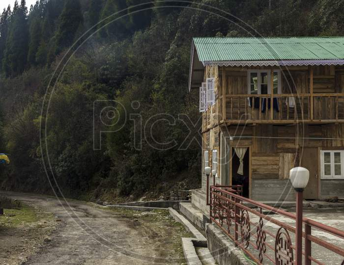 A Road Side Wooden House At Lachung Village Of North Sikkim.