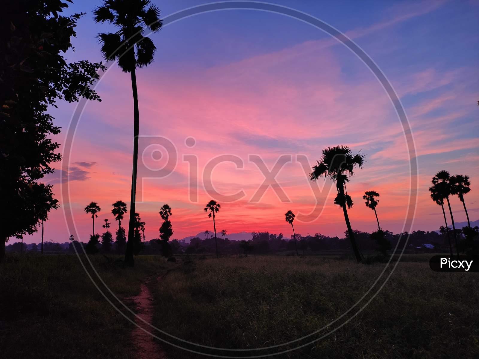 Wide angle sunset shot