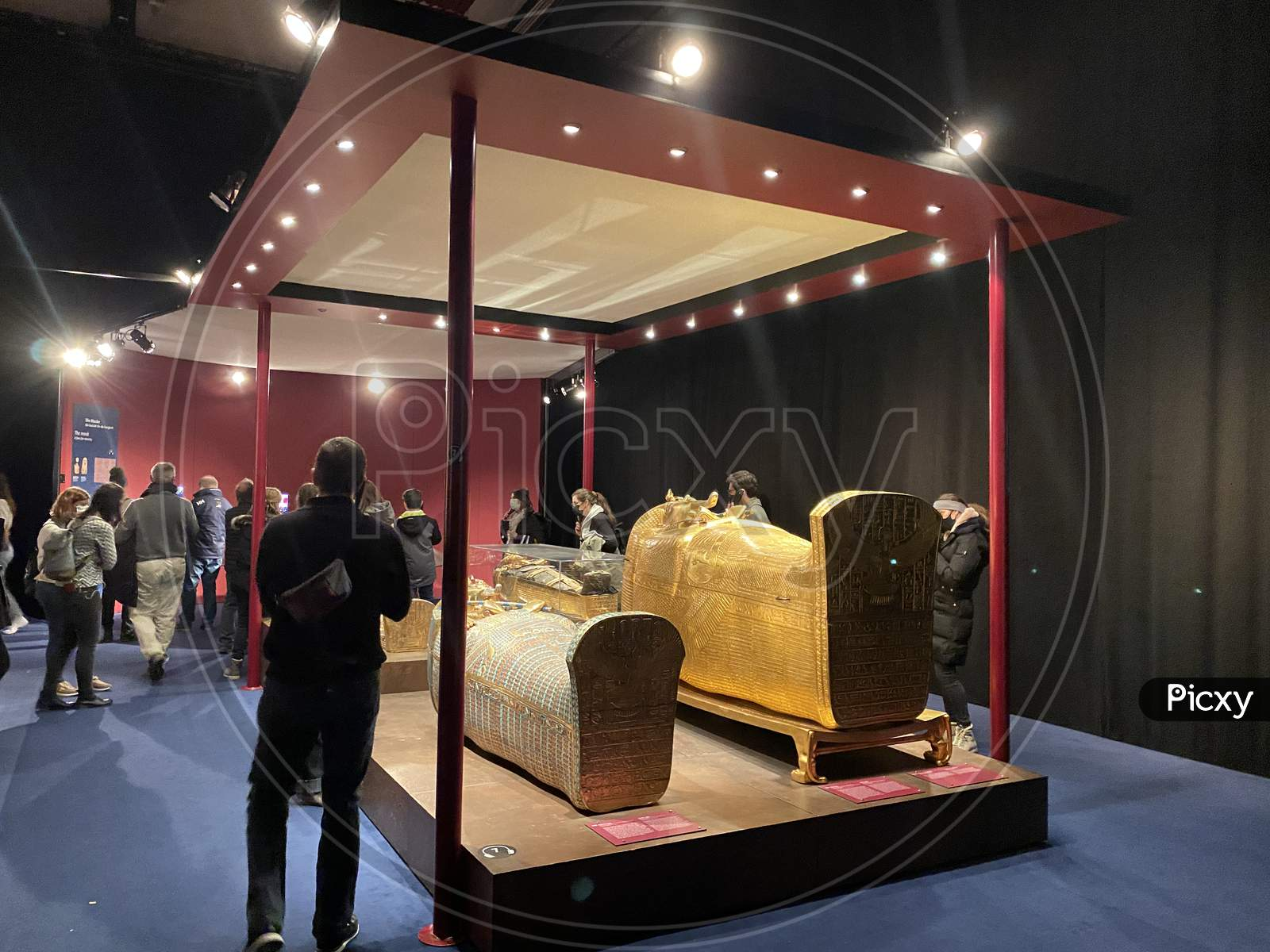 Exhibition Of Egypt Pharaoh Tutankhamun In Zurich During Pandemic Time. Tomb And Treasures With Spectators. 14.03.2021 - Oerlikon, Switzerland.