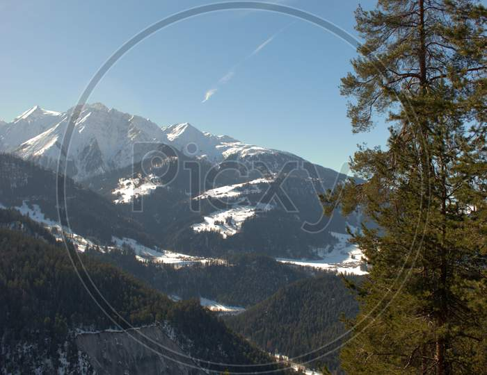 Snow Covered Alps Near Flims In Switzerland 20.2.2021