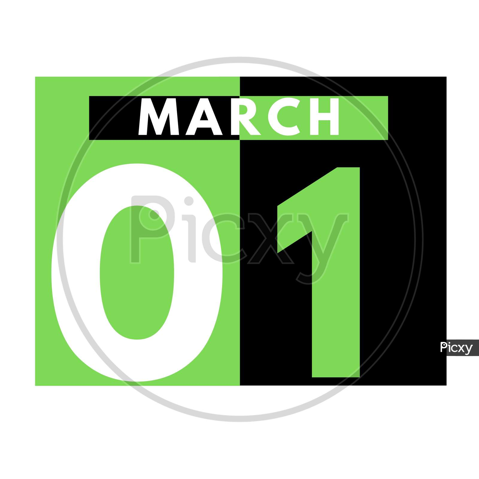 March 1 . Flat Daily Calendar Icon .Date ,Day, Month .Calendar For The Month Of March