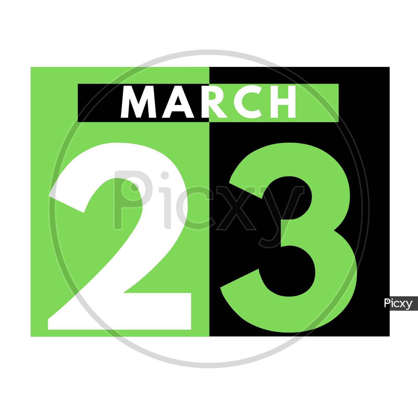 March 23 . Flat Daily Calendar Icon .Date ,Day, Month .Calendar For The Month Of March