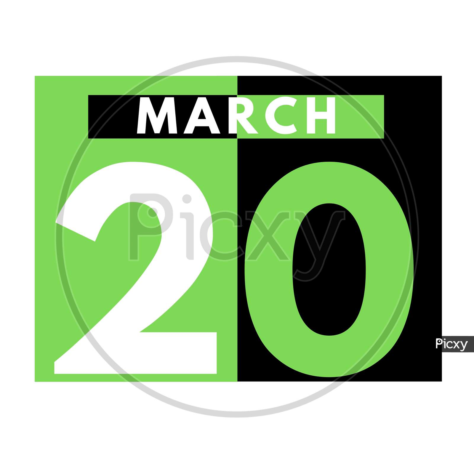 March 20 . Flat Daily Calendar Icon .Date ,Day, Month .Calendar For The Month Of March