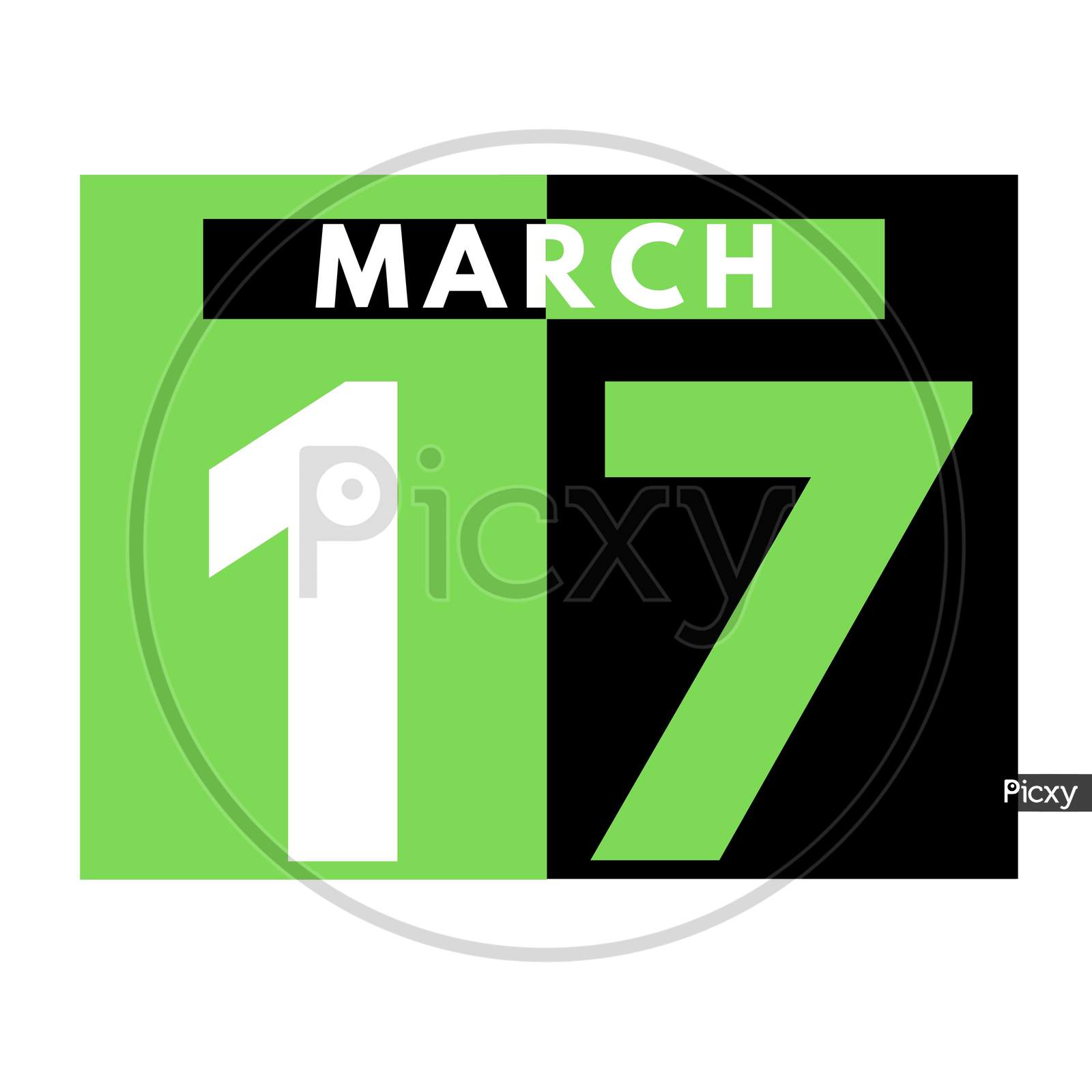 March 17 . Flat Daily Calendar Icon .Date ,Day, Month .Calendar For The Month Of March