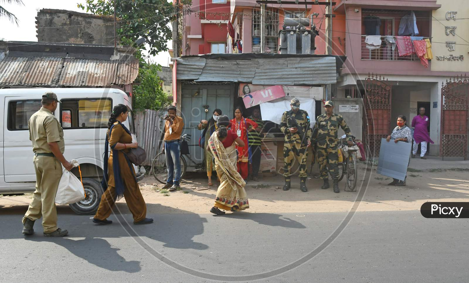 Election Commission officials escorted by the Central Forces were seen visiting door to door to help elderly citizens exercising their voting rights across the 8 Assembly Constituencies in Purba Bardhaman District
